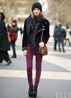 I need burgundy//berry pants in my life.