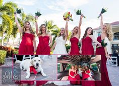 Red bridesmaid dresses, red wedding shoes