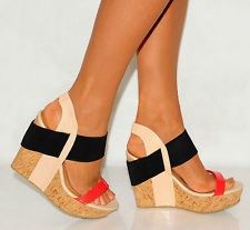 SUMMER CORAL BLACK CORK ELASTIC WEDGES SUMMER STRAPPY PLATFORMS PEEP TOES SHOES