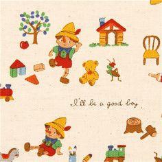 ecru Canvas Pinocchio fairy tale fabric Kokka