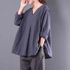 #YesStyle - #Tamiel Long-Sleeve Check Loose-Fit Top - AdoreWe.com