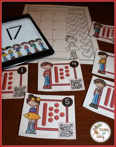 *** FREE DOWNLOAD **** Base Ten kindergarten math station with QR scan and check feature! It has a Valentine theme.