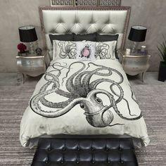Upside Down Full Octopus Bedding Sets Cream Bedding, Duvet Bedding Sets, Luxury Bedding Sets, Black Bedding, Linen Bedding, Bed Linens, King Comforter, Dorm Bedding, Cotton Bedding