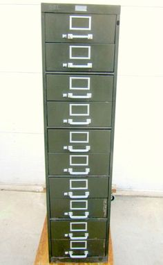 Industrial Metal Lateral File Cabinet with 10 Drawers Vintage Media Artist supplies