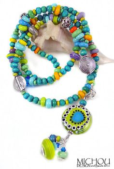 La Bohème - green turquoise   lampwork Necklace  by MichouJewelry, $139.00