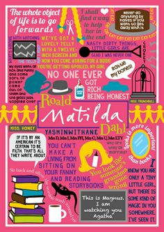 yasminwithane: I read Matilda by Roald Dahl for the first time yesterday. And from the suggestion of a lovely anon, here's a book collage on it! See the rest of my book collages HERE Matilda Roald Dahl, Matilda Movie, Matilda Cast, Matilda Quotes, Book Projects, Fair Projects, Celebration Quotes, Ya Books, Children's Literature