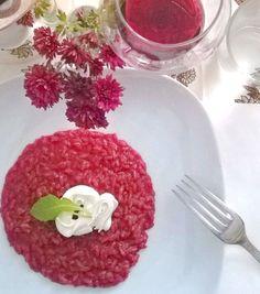 risotto+alla+rapa+rossa+con+mousse+di+caprino+di+capra