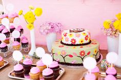 Brown cupcakes with the pink icing would work well and with cupcake topper on top