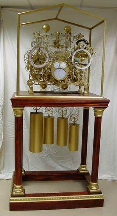 Un reloj astronómico del esqueleto, las funciones del reloj incluyen: 400 calendario perpetuo, ecuación de tiempo, hora sideral, lugar del sol y la luna y conjunto, fase lunar y edad, mareas, eclipses solares /lunares, planisferio, telurio y orrery completa a Saturno con lunas funcionales.