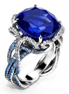 Anna Hu Ring in what looks like sapphire. #rings #jewelry Sapphire Rings, Unique Rings
