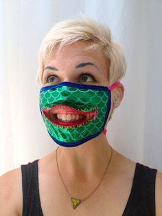 Scaley zipper gag mask for Burning Man, robot raves, and alien luaus madebyjulianne, $28.00
