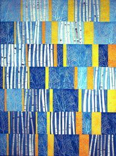 fibrearts:  Brenda Smith, Aspens 5, 2007 (via Schweinfurth Memorial Art Center   Auburn, NY   Quilts=Art=Quilts)