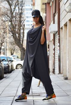 Women's Jumpsuit, Dark Gray Drop Crotch, Wide Leg Maxi Romper, Plus size clothing, Extravagant  Loose Jumpsuit with Zipper by SSDfashion