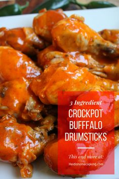 These 3 Ingredient Crockpot Buffalo Drumsticks make a great dinner or easy party food. Buffalo Drumsticks Recipe, Chicken Drumsticks Slow Cooker, Slow Cooker Chicken, Crockpot Chicken Wings, Crock Pot Wings, Slow Cooker Recipes, Crockpot Recipes, Cooking Recipes, Yummy Recipes