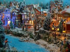 Christmas Village Ideas - I love all the shrubs in this)