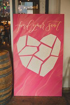 Pink heart geometric wedding seating chart