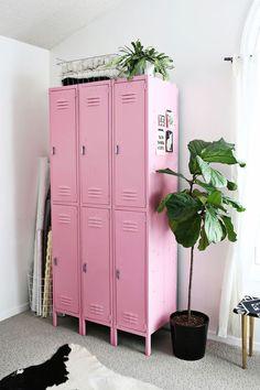 Pink lockers - such a a cute storage idea!
