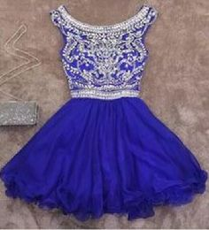 Sexy Prom Dress,Royal Blue Tulle Prom Dress,Short Homecoming Dress with Beaded by fancygirldress, $165.00 USD