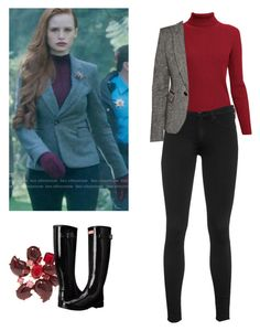 """Cheryl Blossom - Riverdale"" by shadyannon ❤ liked on Polyvore featuring Oscar de la Renta, Rumour London, rag & bone and Hunter"
