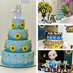 Frozen fever party, Sunflower cake, Frozen party ideas