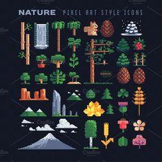 Nature pixel art icons set. by VectorPixelStar on @creativemarket