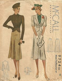 McCall 9724   1930s Misses' Two-Piece Suit