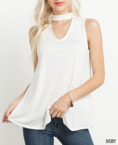 High Neck Cutout Top- Ivory