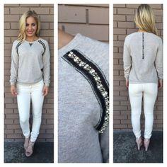 Mocha Crystal & Bead Sweater Top. Dainty Hooligan. This website..... Amazing.