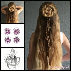 Braided flower with a curlie from the webshop www.goudhaartje.nl (worldwide shipping).  Hairstyle inspired by @batsheeba11 (instagram).    #hair #hairstyle #braid #braids #longhair #beautifulhair #gorgeoushair #stunninghair #longhair #blondehair #hairstylesforgirls #hairinspo #braidideas #braidedflower #fishtailbraid #goudhaartje #vlecht #plait #trenza #peinado