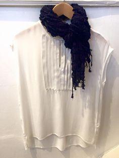 InWear shirt £54.95 Blue ruffled scarf £34.95