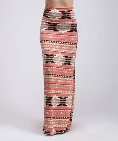This Coral Geo Maxi Skirt by BOLD & BEAUTIFUL is perfect! #zulilyfinds