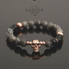 Bracelets For Ladies: Bracelets for men, gemstone bracelet, mens beaded bracelet, jasper and onyx bead. Bracelets En Argent Sterling, Gemstone Bracelets, Bracelets For Men, Handmade Bracelets, Jewelry Bracelets, Making Bracelets, Skull Bracelet, Bracelet Men, Beaded Skull