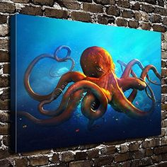 COLORSFORU Wall Art Painting Octopus Prints On Canvas The Picture Landscape Pictures Oil For Home Modern Decoration Print Decor For Living Room ** Check out the image by visiting the link. (This is an affiliate link) Octopus Art, Art Painting, Fish Art, Octopus Wall Art, Painting, Wine Glass Art, Art, Canvas Art, Ocean Art