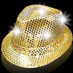 Gold Sequin LED Fedora