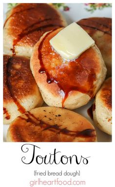 Looking for a delicious traditional Newfoundland recipe? These toutons (or fried bread dough) are a classic! They're pan fried until golden brown and crispy on the outside and tender and fluffy inside. Serve with molasses for one satisfying meal! Waffle Recipes, Donut Recipes, Pastry Recipes, Brunch Recipes, Cooking Recipes, Bread Recipes, Canadian Food, Canadian Recipes, Canadian Snacks