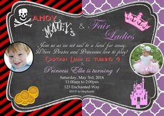 Pirate and Princess Invitation Pirate Princess by MerrimentPress