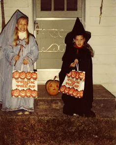 Two girls trick-or-treating in rural Georgia, 1981 - I had a similar witch costume : )