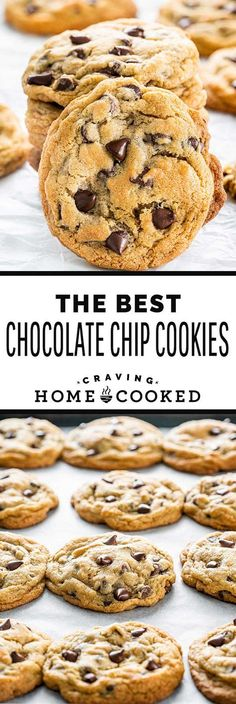 Chocolate Chip Cookies are a classic for a reason. They are the perfectly chewey… Chocolate Chip Cookies are a classic for a reason. They are the perfectly chewey, chocolatey, ooey gooey, answer to those intense sweet tooth cravings. Gooey Chocolate Chip Cookies, Chocolate Cookie Recipes, Easy Cookie Recipes, Sweet Recipes, Baking Recipes, Dessert Recipes, Classic Chocolate Chip Cookies Recipe, Chocolate Chip Cookie Recipe With Margarine, Healthy Recipes