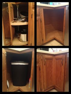 Trash Recycling Cans In Corner Cabinet Spin Like Lazy Susan For The Home In 2019 Kitchen