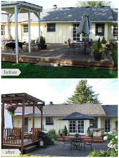 DIY Backyard Deck Makeover Before and After - unsightly deck to garden 'rooms' http://anoregoncottage.com/backyard-makeover/