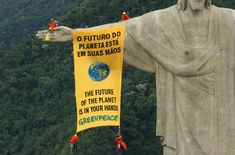Greenpeace activists unfurl a banner from the famous Christ the Redeemer statue in Rio de Janeiro during the Convention of Biological Diversity (CBD) in Curitiba, Brazil to call on governments to protect global biodiversity. Oceans Of The World, We Are The World, Statues, Christ The Redeemer Statue, Peaceful Protest, World Photography, Tomorrow Will Be Better, Social Change, Take Action
