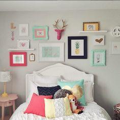 Bedroom, girls room wall decor, bedroom wall colors, wall ideas for bed Room Decor For Teen Girls, Girls Room Wall Decor, Girl Bedroom Walls, Bedroom Wall Colors, Little Girl Rooms, Bedroom Decor, Decor Room, Childs Bedroom, Dream Bedroom