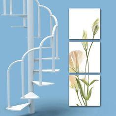 Galleria d'arte tela-3 pannelli di arte della parete verticale Crema Fiore Pittura Stampa Giclee Canvas, pronta...