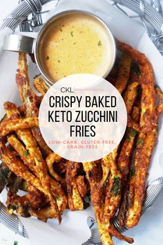 "These Keto Zucchini Fries are super simple and so so good. The texture couldn't be any better and we are officially in love! These baked crispy ""fries"" are keto, low-carb, grain-free, and gluten-free! Low Carb Recipes, Diet Recipes, Cooking Recipes, Healthy Recipes, Cooking Tips, Recipies, Flour Recipes, Sausage Recipes, Recipes Dinner"