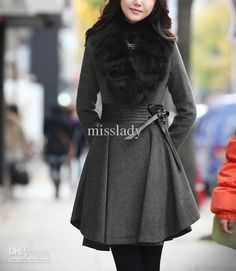 Camel Faux Wool Knee-Length Coat with Faux Fur Collar | Coats20 ...