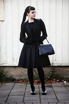 """Birthday outfit"" Spiked shoulder jacket, a-line black dress; modest goth, monochromatic fantastic."
