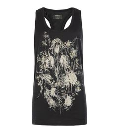 Skull Jouy Tank - ebony    Classic AllSaints longline tank with delicately hand drawn birds, florals and anatomy illustrated by our in house graphic designers. The Skull Jouy tank has a scooped round neck, racer back and uses the highest quality iridescent metallic foil to create shimmering highlights.