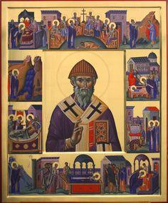 Saint Spyridon with scenes of his life (by Razvan Badescu) Byzantine Icons, Byzantine Art, Religious Icons, Religious Art, Church Windows, Russian Icons, Orthodox Christianity, Orthodox Icons, I Icon