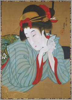 Japan, hanging scroll by Hasegawa Sadanobu II (active 1867-1880s), A reclining beauty reading a book.