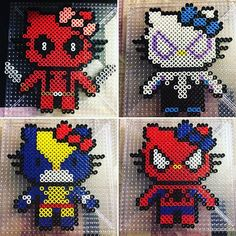 Superhero Hello Kitty perler beads by phoenixgirlcreations Pearler Bead Patterns, Perler Patterns, Peyote Patterns, Beading Patterns, Diy Perler Beads, Perler Bead Art, Hello Kitty, Peler Beads, Easy Arts And Crafts